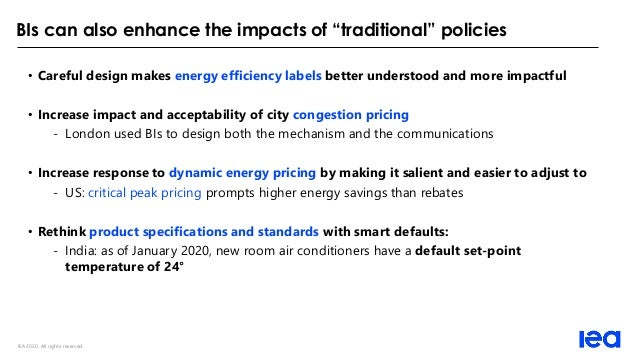 """IEA 2020. All rights reserved. BIs can also enhance the impacts of """"traditional"""" policies • Careful design makes energy ef..."""