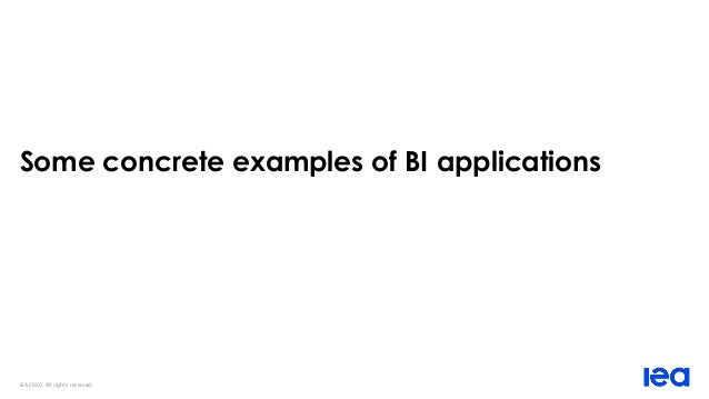 IEA 2020. All rights reserved. Some concrete examples of BI applications