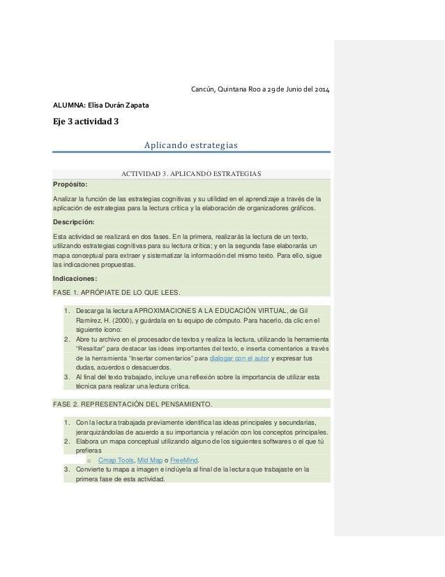 Cancún, Quintana Roo a 29 de Junio del 2014 ALUMNA: Elisa Durán Zapata Eje 3 actividad 3 Aplicando estrategias ACTIVIDAD 3...