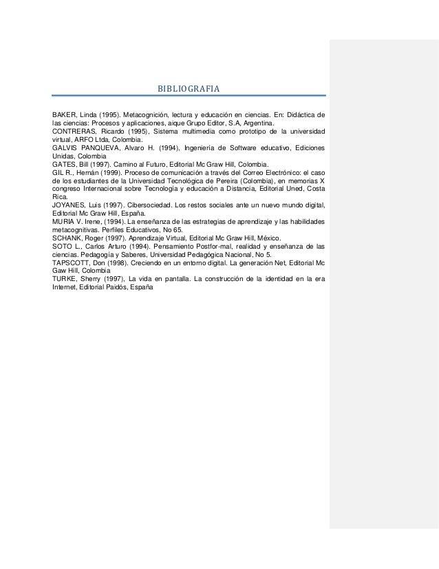 BIBLIOGRAFIA BAKER, Linda (1995). Metacognición, lectura y educación en ciencias. En: Didáctica de las ciencias: Procesos ...