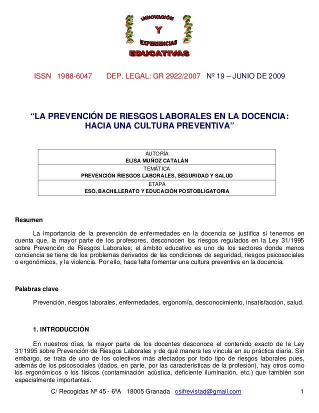 Nº 19 – JUNIO DE 2009 C/ Recogidas Nº 45 - 6ºA 18005 Granada csifrevistad@gmail.com ISSN 1988-6047 DEP. LEGAL: GR 2922/200...