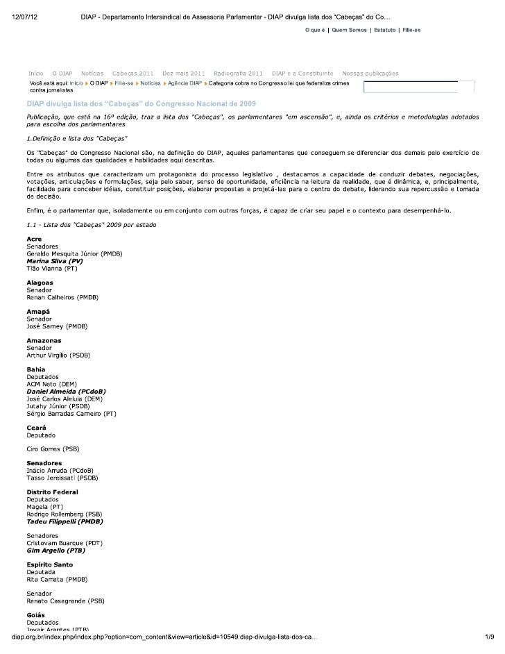 """Eliseu padilha  diap - departamento intersindical de assessoria parlamentar - diap divulga lista dos """"cabeças"""" do congress..."""