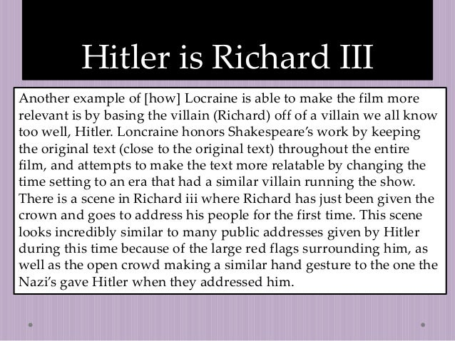 elit class end richard iii introduce essay  6 hitler is richard iii