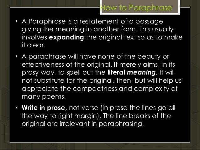 Paraphrasing words xlviii