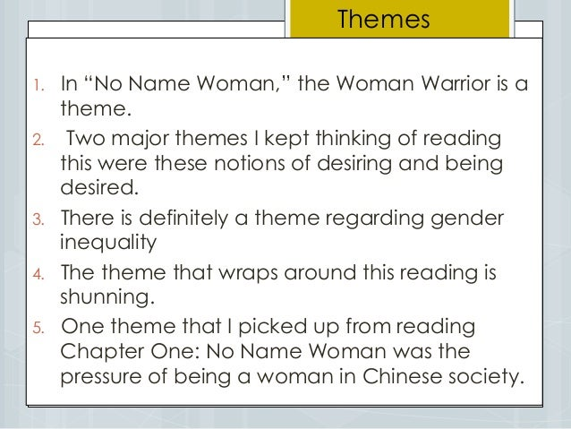 No name woman essay