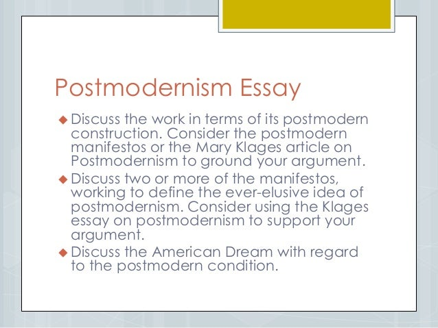 Introduction to postmodernism essay