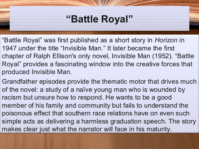 Thesis Statement For An Argumentative Essay The Narrator Of Ralph Ellisons Battle Royal How To Write A Essay Proposal also Barack Obama Essay Paper The Narrator Of Ralph Ellisons Battle Royal Essay Sample  February  English Literature Essays