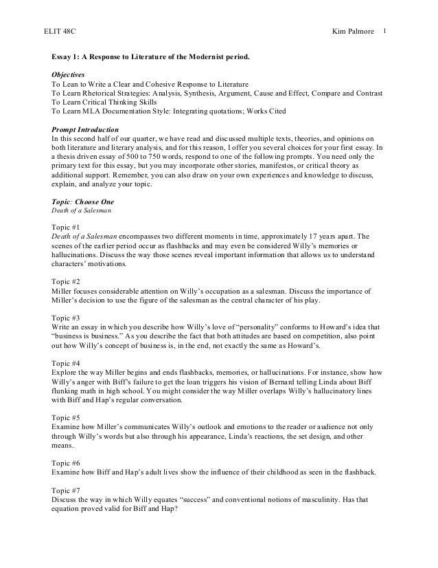 Death Of Salesman Essay. Death Of A Salesman Essay Gcse English ...