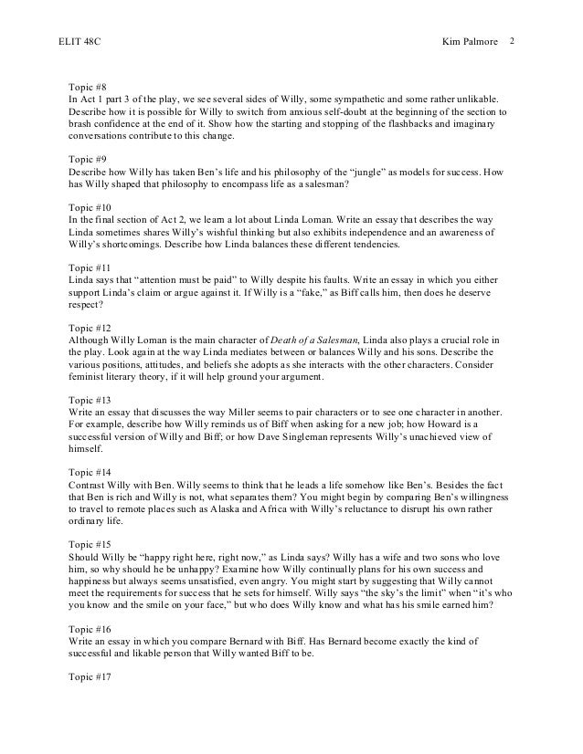 character analysis essay about the play death of a salesman