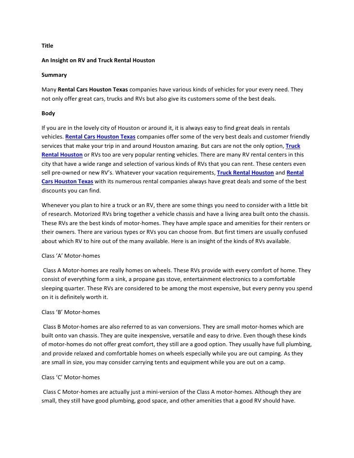 Truck Rental Houston >> An Insight On Rv And Truck Rental Houston