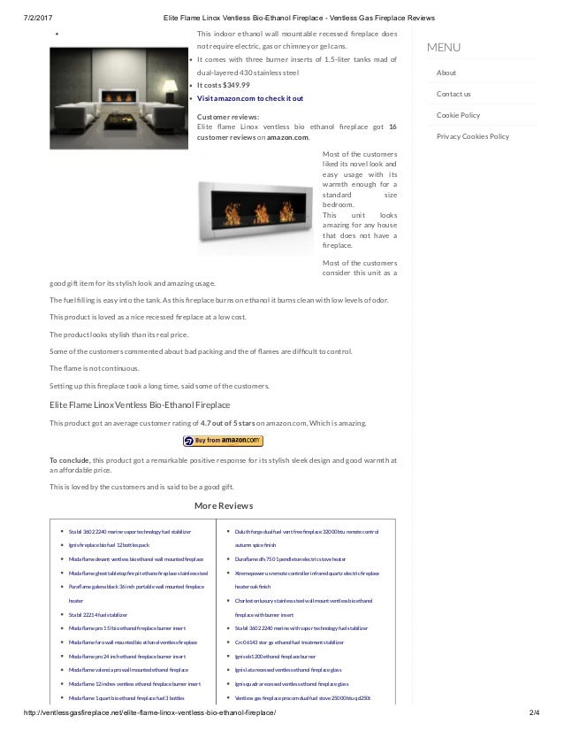Elite Flame Linox Ventless Bio Ethanol Fireplace Ventless Gas Firep
