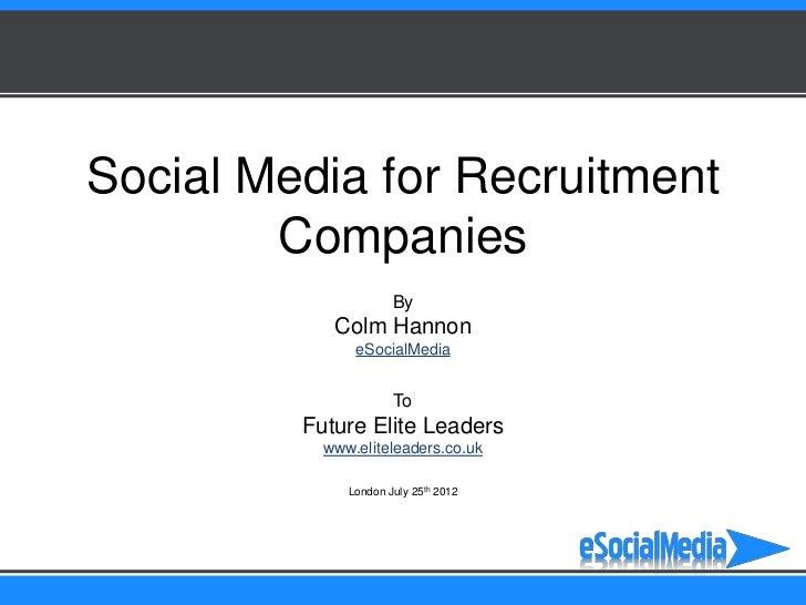 Social Media for Recruitment            Companies                                                                         ...