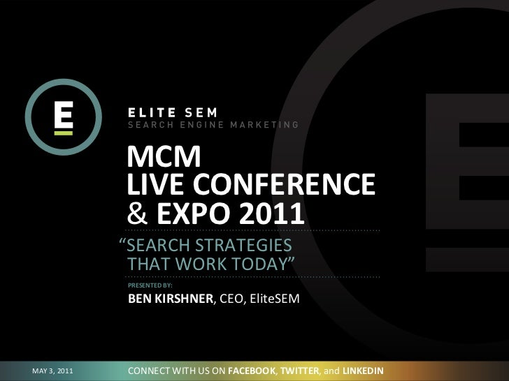 """MCM                      LIVE CONFERENCE                     & EXPO 2011                    """"SEARCH STRATEGIES ..."""