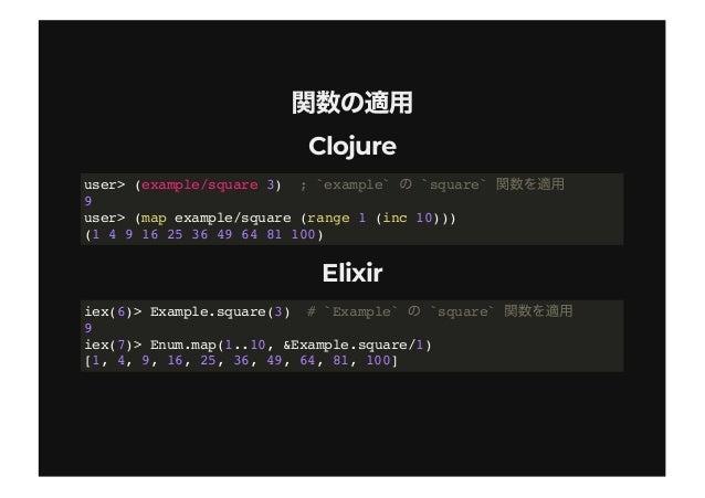 >>>> (threading macro) vs(threading macro) vs  > > (pipe operator)(pipe operator) ClojureClojure ElixirElixir cf. user> ...