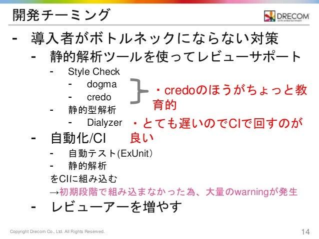 Copyright Drecom Co., Ltd. All Rights Reserved. 14 開発チーミング ⁃ 導入者がボトルネックにならない対策 ⁃ 静的解析ツールを使ってレビューサポート ⁃ Style Check ⁃ dogma...