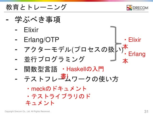 Copyright Drecom Co., Ltd. All Rights Reserved. 31 教育とトレーニング ⁃ 学ぶべき事項 ⁃ Elixir ⁃ Erlang/OTP ⁃ アクターモデル(プロセスの扱い) ⁃ 並行プログラミング...