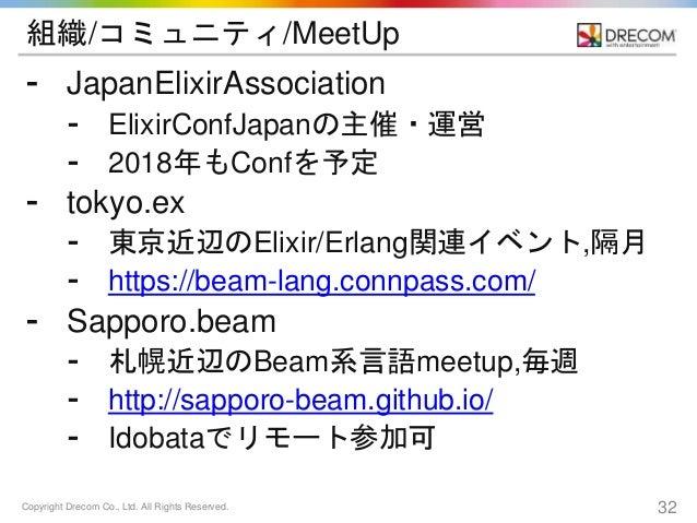 Copyright Drecom Co., Ltd. All Rights Reserved. 32 組織/コミュニティ/MeetUp ⁃ JapanElixirAssociation ⁃ ElixirConfJapanの主催・運営 ⁃ 201...