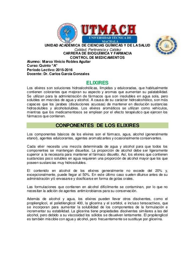 UNIDAD ACADÉMICA DE CIENCIAS QUÍMICAS Y DE LASALUD Calidad, Pertinencia y Calidez CARRERA DE BIOQUÍMICAY FARMACIA CONTROL ...