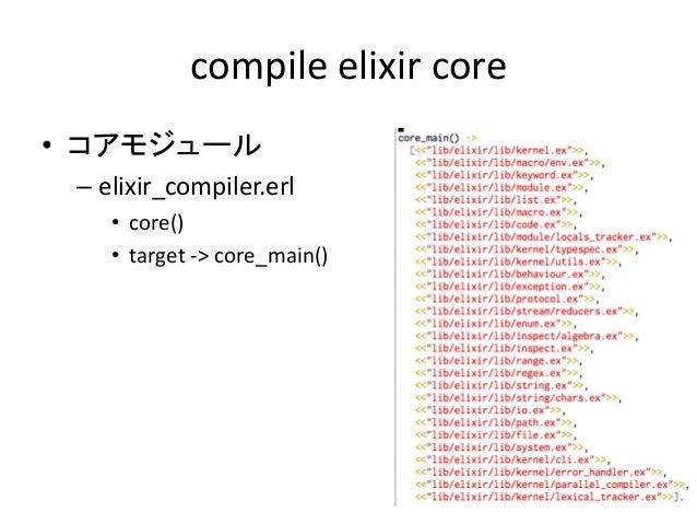 compile elixir core • コアモジュール – elixir_compiler.erl • core() • target -> core_main()