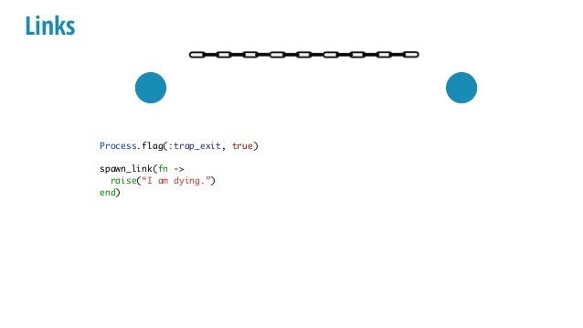 """Links Process.flag(:trap_exit, true) spawn_link(fn -> raise(""""I am dying."""") end) receive do {:EXIT, pid, msg} -> IO.inspect..."""