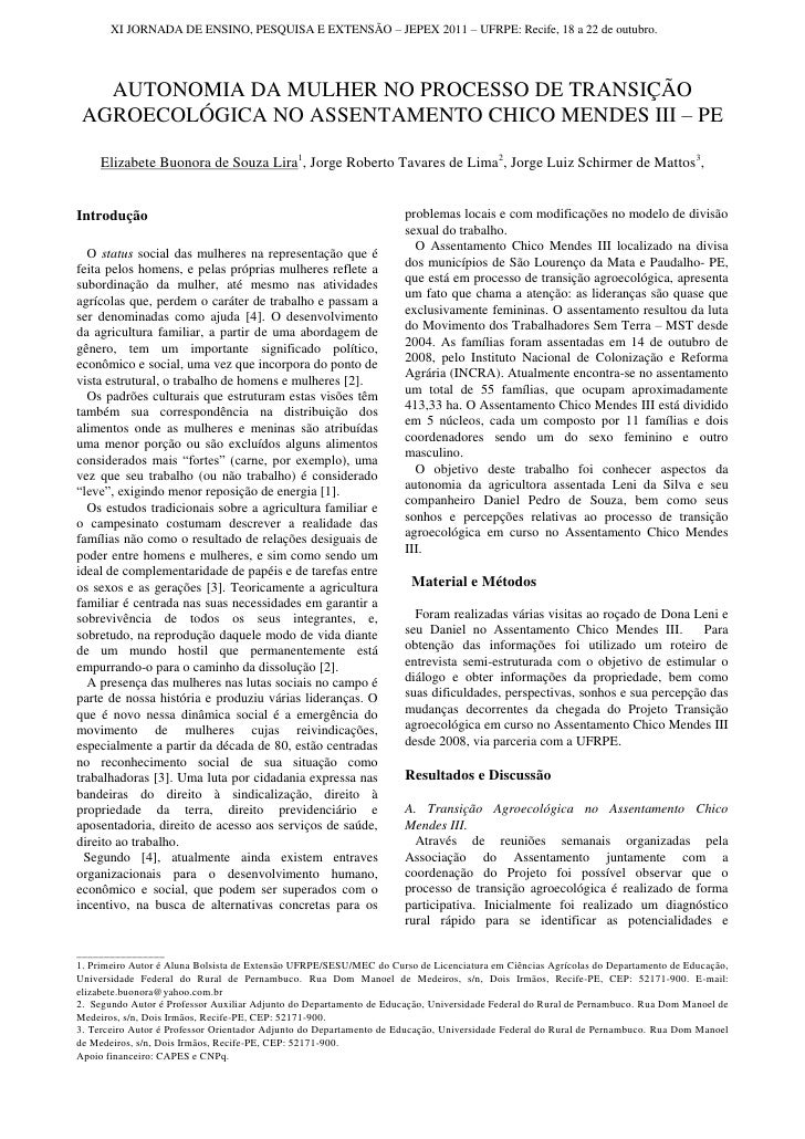 XI JORNADA DE ENSINO, PESQUISA E EXTENSÃO – JEPEX 2011 – UFRPE: Recife, 18 a 22 de outubro.      AUTONOMIA DA MULHER NO PR...