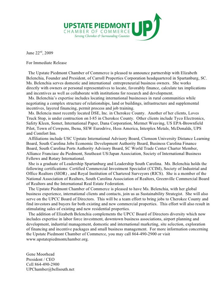 June 22nd, 2009  For Immediate Release   The Upstate Piedmont Chamber of Commerce is pleased to announce partnership with ...