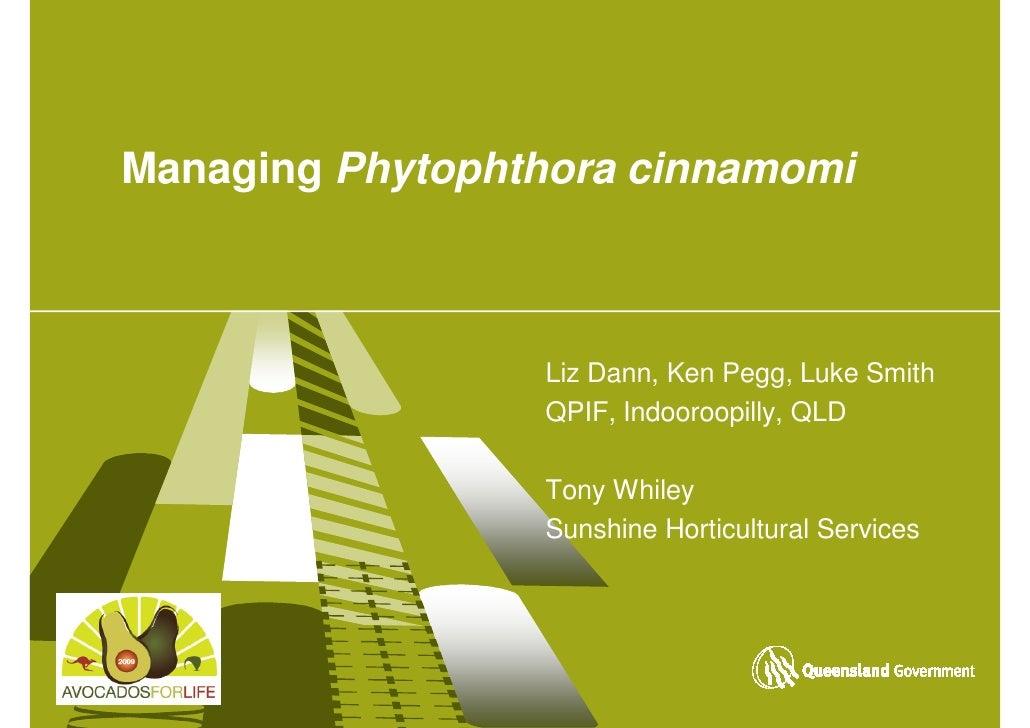 Managing Phytophthora cinnamomi                     Liz Dann, Ken Pegg, Luke Smith                  QPIF, Indooroopilly, Q...