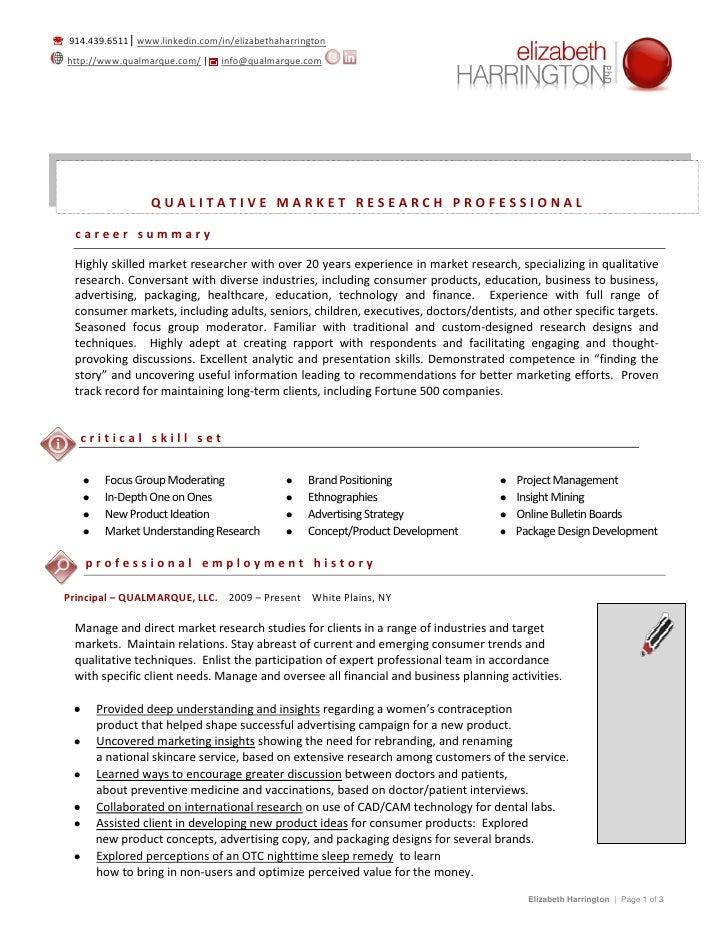 Attractive QUALITATIVE RESEARCH CONSULTANT  914.439.6511| Www.linkedin.com/in/ ...