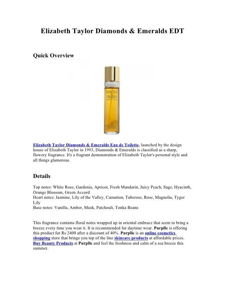 Elizabeth Taylor Diamonds & Emeralds EDTQuick OverviewElizabeth Taylor Diamonds & Emeralds Eau de Toilette, launched by th...