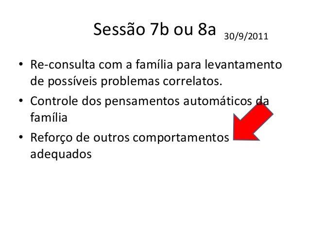 Sessão 10b ou 11a • Controle e acompanhamento das respostas familiares e em interação com o cliente. 4/11/2011