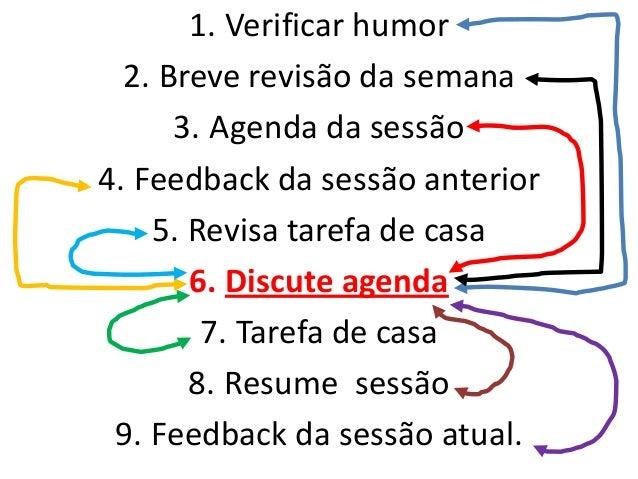 Avaliação inicial • Qual a facilidade de treinar o cliente na estrutura da sessão? • Qual a adesão do paciente ao tratamen...