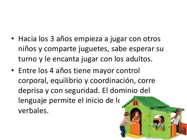 • Hacia los 3 años empieza a jugar con otros  niños y comparte juguetes, sabe esperar su  turno y le encanta jugar con los...