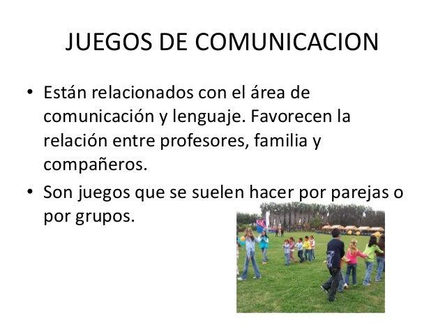 JUEGOS DE COMUNICACION• Están relacionados con el área de  comunicación y lenguaje. Favorecen la  relación entre profesore...