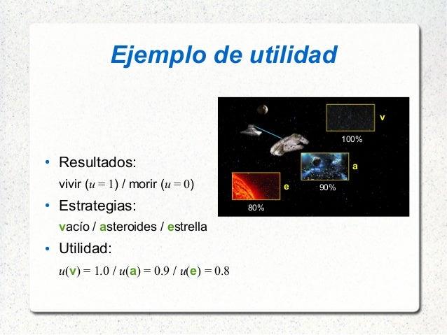 Ejemplo de utilidad ● Resultados: vivir (u = 1) / morir (u = 0) ● Estrategias: vacío / asteroides / estrella ● Utilida...