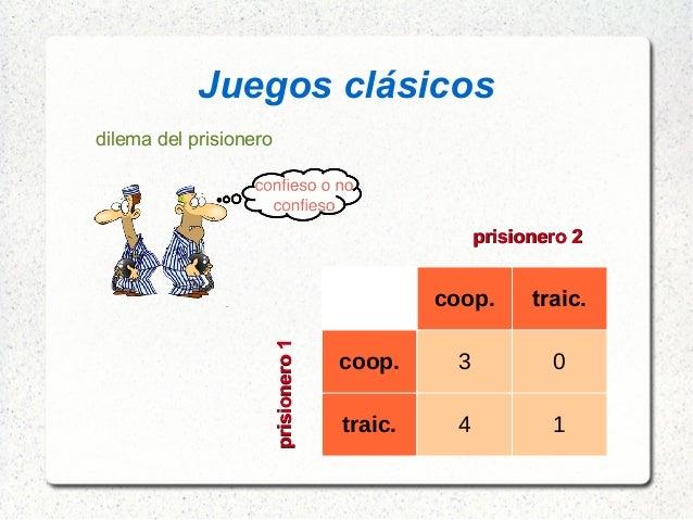 Juegos clásicos dilema del prisionero coop. traic. coop. 3 0 traic. 4 1 prisionero1prisionero1 prisionero 2prisionero 2