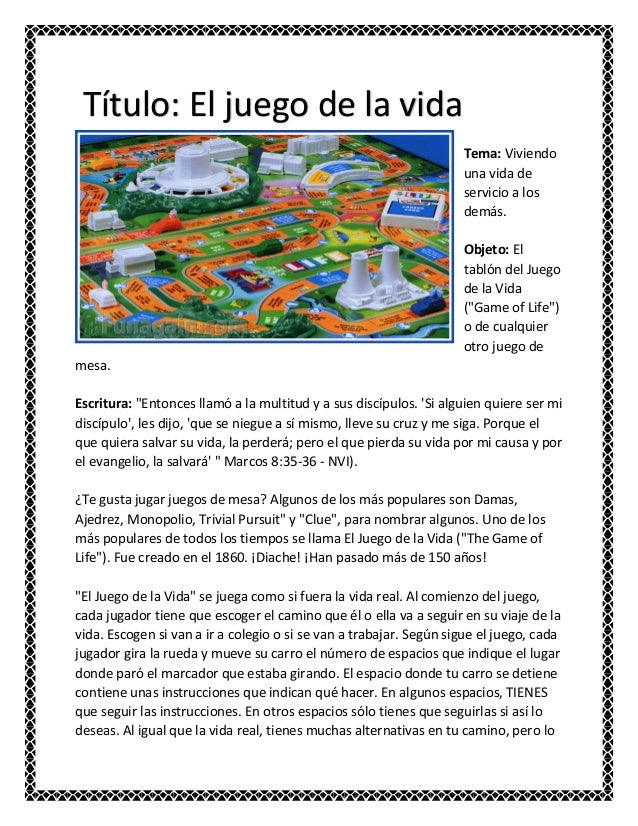 El Juego De La Vida Juego De Mesa Unifeed Club