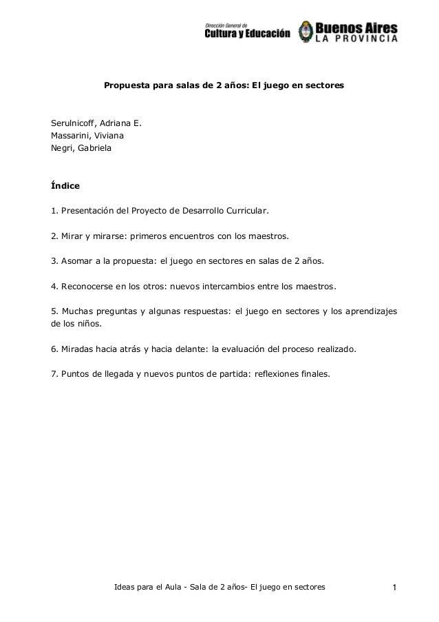 Propuesta para salas de 2 años: El juego en sectores  Serulnicoff, Adriana E. Massarini, Viviana Negri, Gabriela  Índice 1...