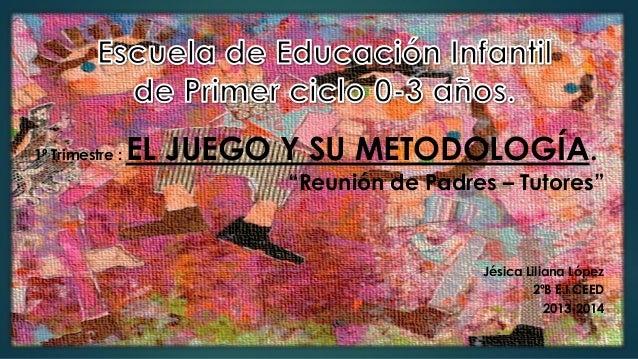 """1º Trimestre :  EL JUEGO Y SU METODOLOGÍA. """"Reunión de Padres – Tutores""""  Jésica Liliana López 2ºB E.I CEED 2013-2014"""