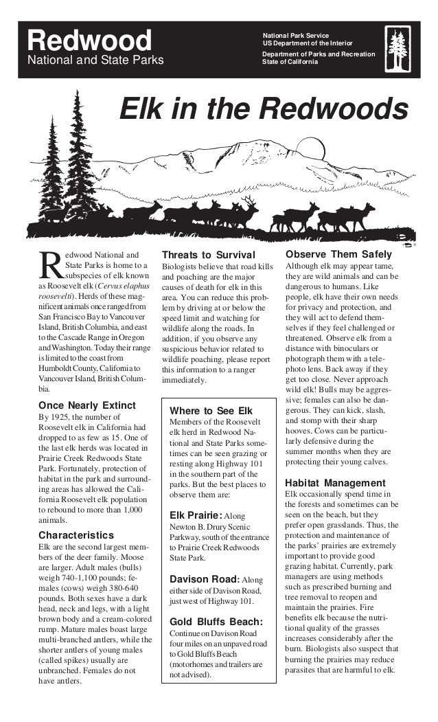 Redwood National Park Service US Department of the Interior Department of Parks and Recreation State of CaliforniaNational...