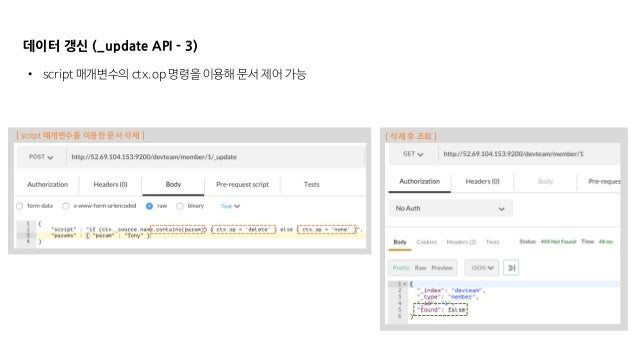 데이터 갱신 (_update API - 3) • script 매개변수의 ctx.op 명령을 이용해 문서 제어 가능 [ script 매개변수를 이용한 문서 삭제 ] [ 삭제 후 조회 ]