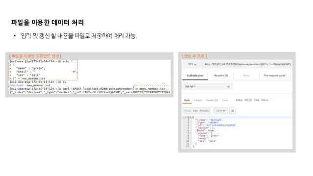 파일을 이용한 데이터 처리 • 입력 및 갱신 할 내용을 파일로 저장하여 처리 가능 [ 파일을 이용한 도큐먼트 생성 ] [ 생성 후 조회 ]