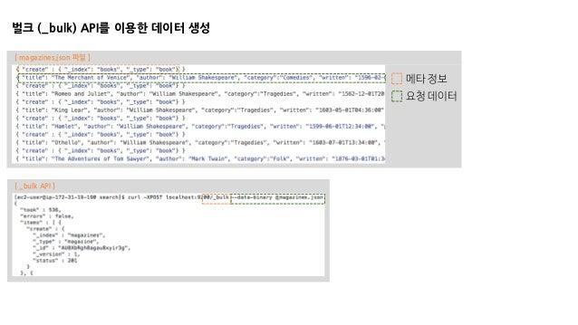벌크 (_bulk) API를 이용한 데이터 생성 메타 정보 요청 데이터 [ magazines.json 파일 ] [ _bulk API ]