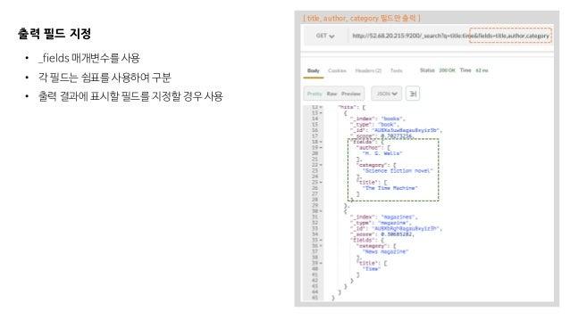 출력 필드 지정 • _fields 매개변수를 사용 • 각 필드는 쉼표를 사용하여 구분 • 출력 결과에 표시할 필드를 지정할 경우 사용 [ title, author, category 필드만 출력 ]