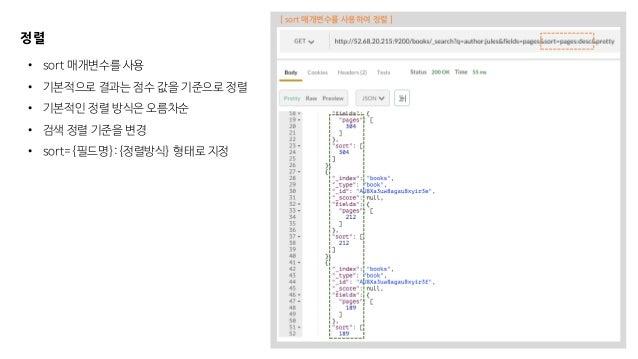 정렬 • sort 매개변수를 사용 • 기본적으로 결과는 점수 값을 기준으로 정렬 • 기본적인 정렬 방식은 오름차순 • 검색 정렬 기준을 변경 • sort={필드명}:{정렬방식} 형태로 지정 [ sort 매개변수를 사용하...