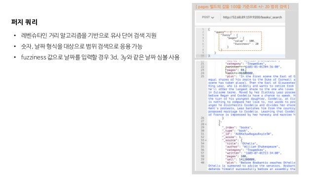 [ pages 필드의 값을 100을 기준으로 +/- 20 범위 검색 ] 퍼지 쿼리 • 레벤슈타인 거리 알고리즘을 기반으로 유사 단어 검색 지원 • 숫자, 날짜 형식을 대상으로 범위 검색으로 응용 가능 • fuzzines...