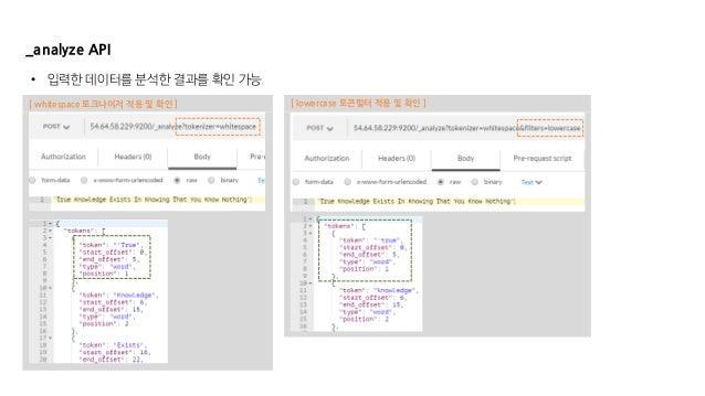 _analyze API • 입력한 데이터를 분석한 결과를 확인 가능 [ whitespace 토크나이저 적용 및 확인 ] [ lowercase 토큰필터 적용 및 확인 ]