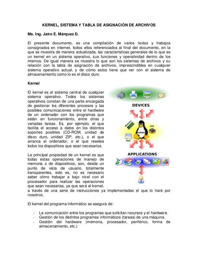 KERNEL, SISTEMA Y TABLA DE ASIGNACIÓN DE ARCHIVOS Ms. Ing. Jairo E. Márquez D. El presente documento, es una compilación d...