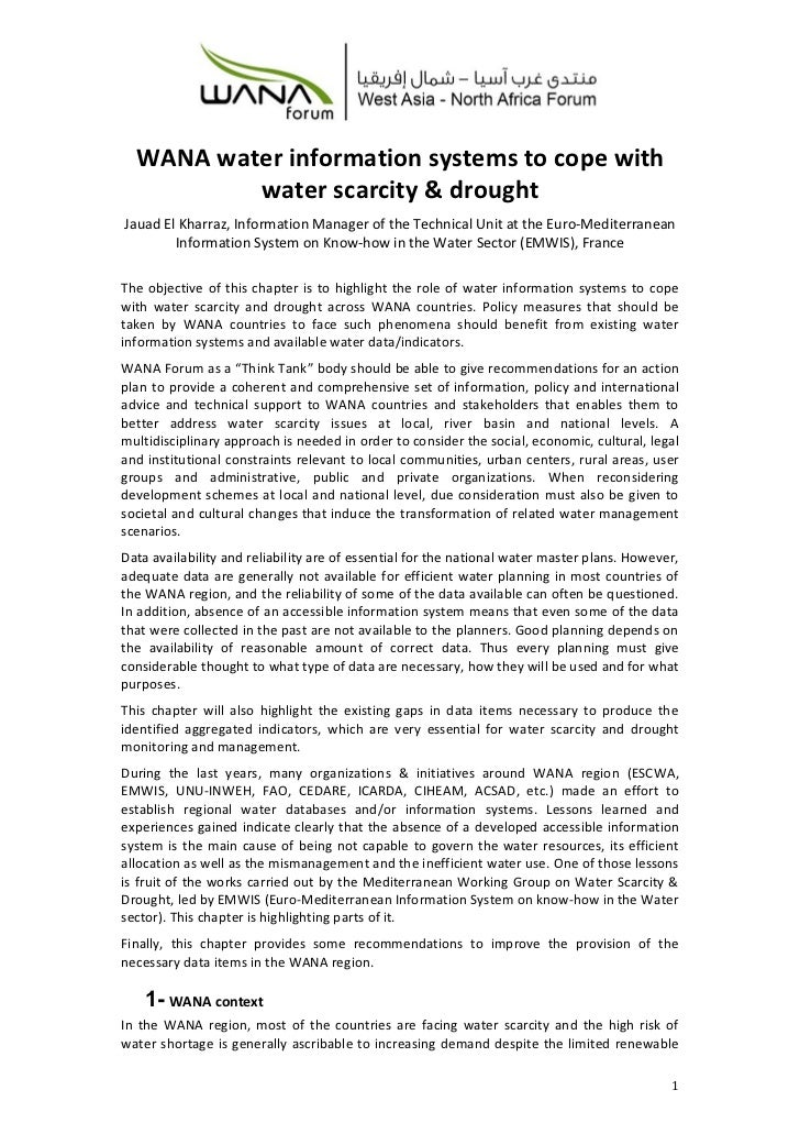 WANA water information systems to cope with          water scarcity & droughtJauad El Kharraz, Information Manager of the ...
