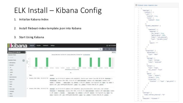 ELK Install – Kibana Config 1. Initialize Kabana Index 2. Install filebeat-index-template.json into Kabana 3. Start Using ...