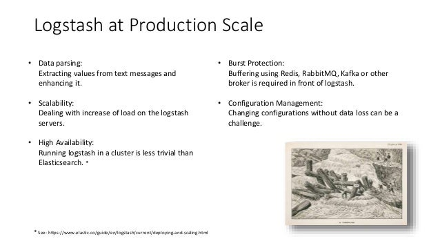 Logstash at Production Scale • Data parsing: Extracting values from text messages and enhancing it. • Scalability: Dealing...
